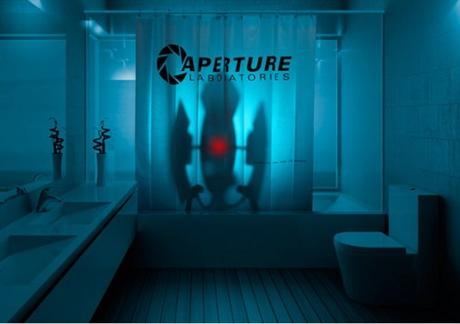 Superior Portal 2 Aperture Laboratories Shower Curtain