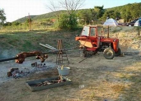 Tractor Transformed Into a Hog Roast Turner