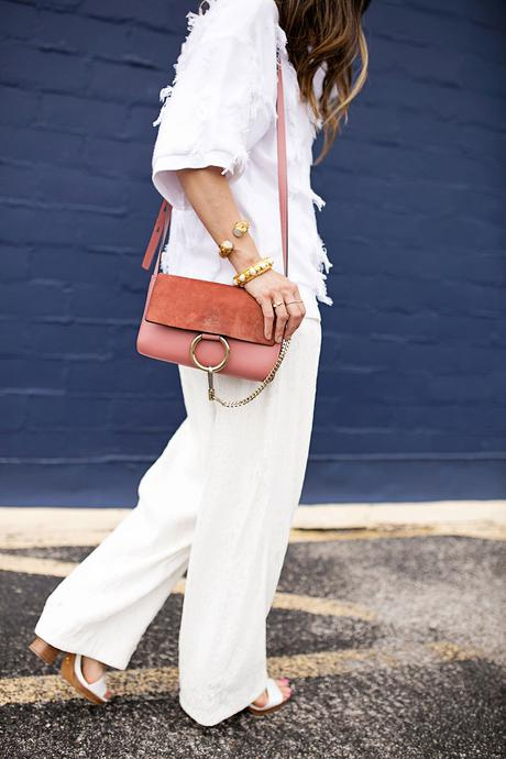 lou & gray fringe sweater,palmer harding pant, all white outfit, rose pink chloe faye bag