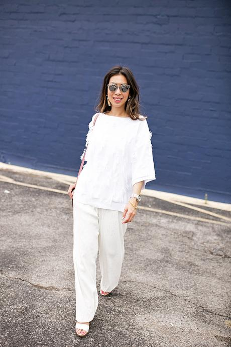 lou & gray fringe sweater,palmer harding pant, all white outfit, rose pink chloe faye bag, dior so real sunglasses
