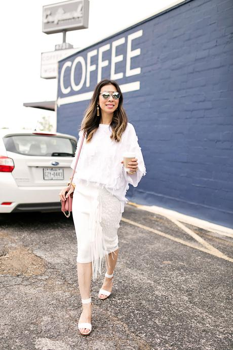 lou & gray fringe sweater,palmer harding fringe skirt, all white outfit, craftwork coffee fort worth