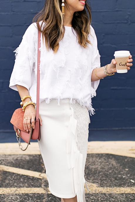 lou & gray fringe sweater,palmer harding fringe skirt, all white outfit, rose pink chloe faye bag, rachel zoe tassel earrings, julie vos baroque cuff, siena bangle
