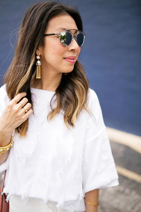 lou & gray fringe sweater,palmer harding fringe skirt, all white outfit, rachel zoe tassel earrings, dior so real dupe sunglasses