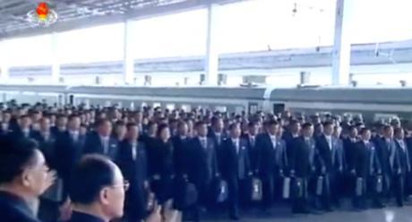 Delegates and observers arrive at Pyongyang Central Railway Station to attend the 7th Party Congress which opens on May 6 (Photo: Korean Central TV).