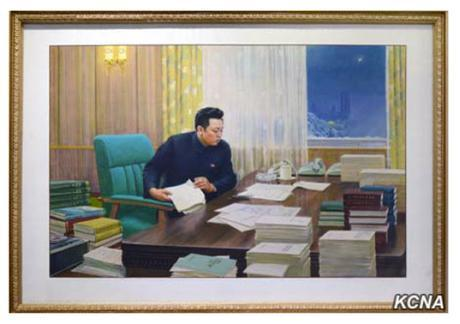 Painting of late DPRK leader Kim Cho'ng-il working at at his office in the WPK Central Committee #1 Office Building (Photo: KCNA).