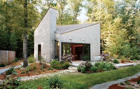 Modern small space Rhode Island cottage with landscaping and cedar cladding