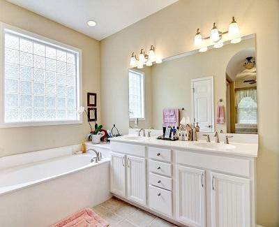 refresh a bathroom with new cabinets
