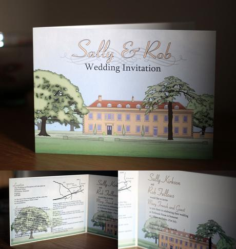 Large bifold Holbrook House wedding invitation cover and inside