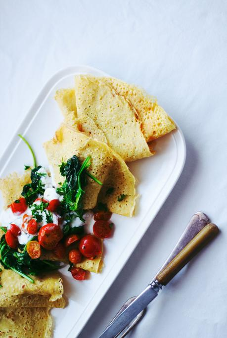 Chickpea Crepes with Sauteed Cherry Tomatoes and Spinach /// (Vegan) (Gluten-Free)