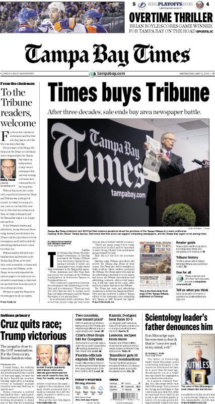Dear Tampa Tribune: many will miss you