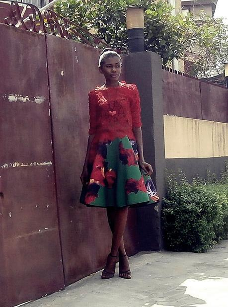 Red Lace and Voluminous Skirt