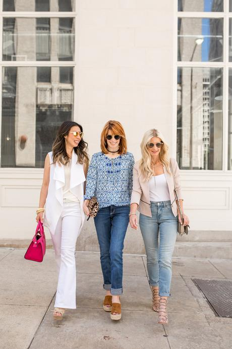 #FitToBe, NYDJ, CHIC at EVERY age mom version, all white outfit, sleeveless jacket
