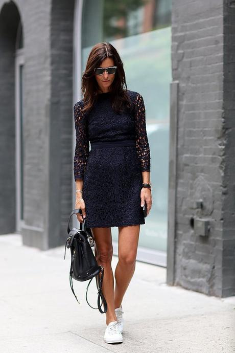 Who says you can't pair a cocktail dress with plain white sneakers? Not Hedvig Opshaug, for one.
