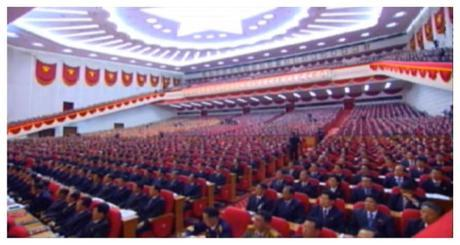 View of 7th Party Congress participants (Photo: Korean Central TV).