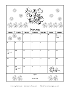 Printable May 2012 Colouring Calendar