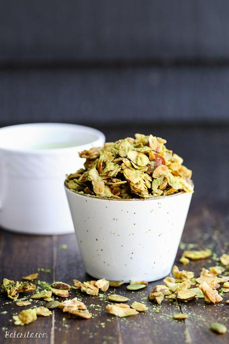 This Matcha Granola has clusters of oats, coconut flakes, almonds, and pepitas tossed with earthy matcha powder. Whether you enjoy it over yogurt or by the handful, this gluten free and vegan granola probably won't last long.