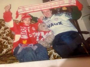 1992 and all that: Nathalie in red, her dad in, er, a gruesome away top