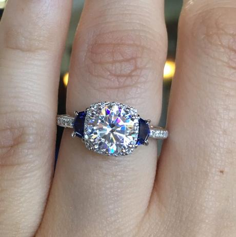 Tacori engagement ring with sapphires