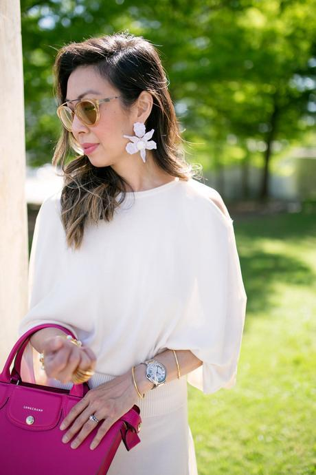 #LongchampSecretCity, Style of Sam, Longchamp Le Pliage Heritage cyclamen, coach python pumps, Lele sadoughi crystal lily earrings, westward leaning flower 8 sunglasses, cartier ballon bleu watch, modern museum of fort worth