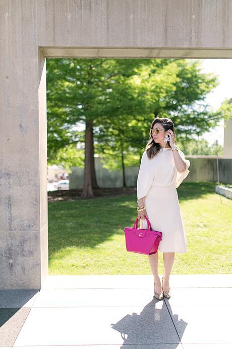 #LongchampSecretCity, Style of Sam, Longchamp Le Pliage Heritage cyclamen, coach python pumps, Lele sadoughi crystal lily earrings, westward leaning flower 8 sunglasses, modern museum of fort worth