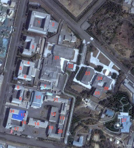 The Workers' Party of Korea Central Committee Office Complex #1 in central Pyongyang. Departments and sections in the image are: the Organization Guidance Department (1) The Liaison Office (2) the Propaganda and Agitation Department (3) the General Affairs Department (4) the Civil Defense Department (5) the Military Affairs Department (6) the Administration Department (7), Document Archive Office (8) Science and Education Department (9) Central Party Assembly Hall (10), Consolidation Section (11), Kim Il Sung Revolutionary History Institute (12), Kim Jong Il Revolutionary Ideological Institute (13) Economic Policy Control and Finance and Planning Departments (14), Office #39 (15), Office #38 (16), the Machine-Building Industry Department (17), the International Affairs Department (18) the Light Industry Department (19) and the Finance and Accounting Department (20) (Photo: Digital Globe/NK Leadership Watch).