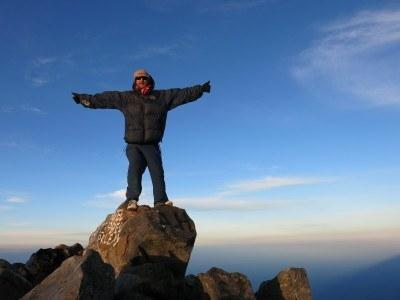 At the summit of Volcan Tajumulco in Guatemala