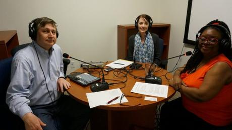 Podcast hosts Ken Jaques and Julie Johnson with guest Toki Mabogunje (right)