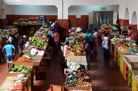 Fresh produce in the stalls of Bridgetown's Cheapside market