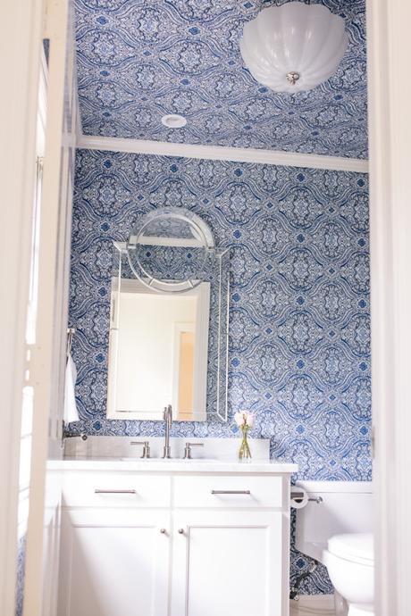 Dallas blogger, Amy Havins, shares photos of the powder bathroom remodel in her house.