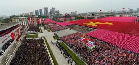 View of a parade through Kim Il Sung Square in central Pyongyang on May 10, 2016 held to celebrate the 7th Party Congress (Photo: Rodong Sinmun-KCNA).
