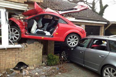 Red Audi TT that crashed into a house in Suffolk