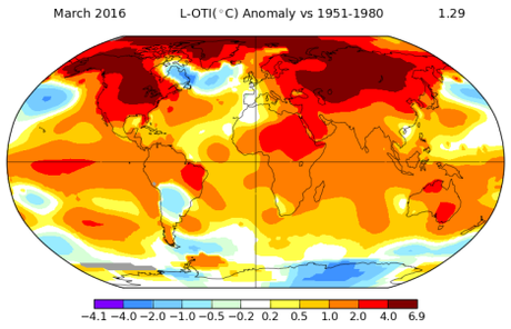 global temperature map March 2016