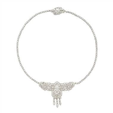 Estate Art Deco Diamond Choker Necklace in Platinum (12.60 ct. tw.) at Blue Nile