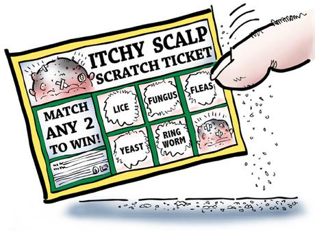 bogus scratch-off lottery ticket called itchy scalp match any two scalp diseases to win, lice, fungus, fleas, yeast, ringworm, fingertip scratching ticket