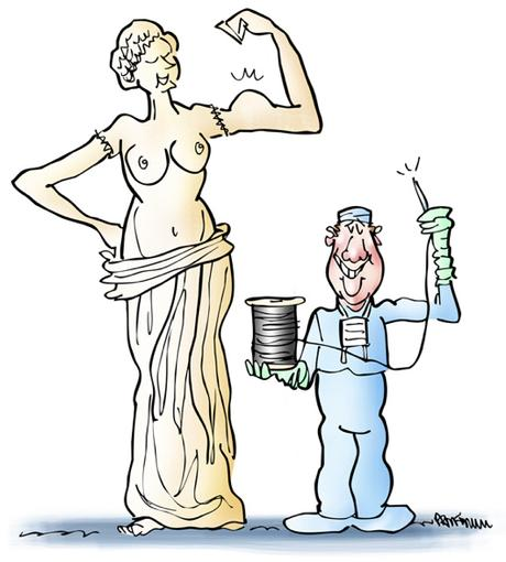 Venus de Milo statue, doctor wearing scrubs with needle and thread has sown Venus's arms back on and she's striking a muscle pose