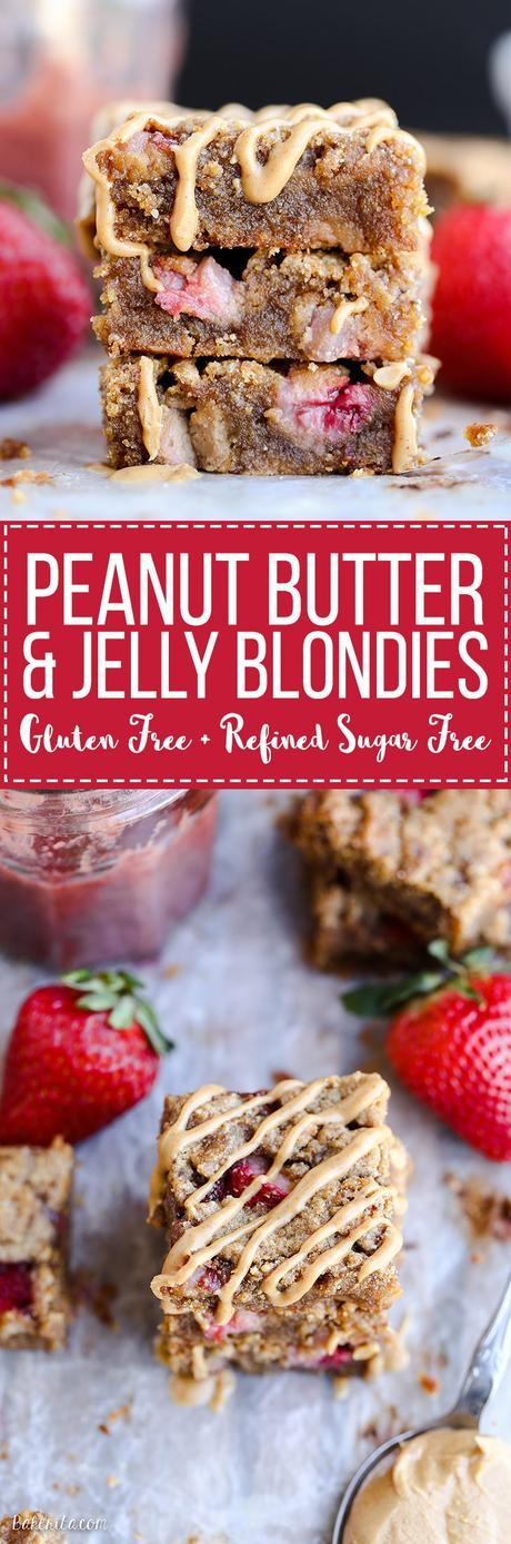 These Peanut Butter & Jelly Blondies are a super gooey and delicious way to enjoy this classic sandwich combo! These dessert bars are gluten-free, grain-free and refined sugar-free.