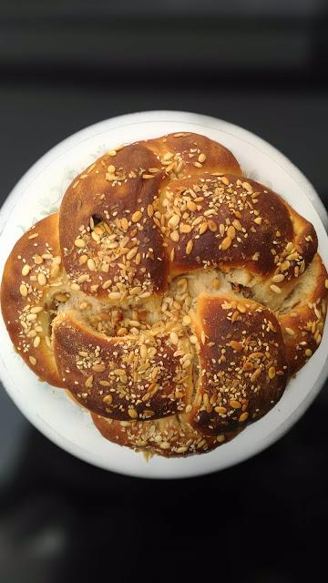 Challah -Apple Cinnamon Walnuts and Raisin filled 4 braided Challah Bread