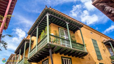 Yellow house with balcony in old town Cartagena