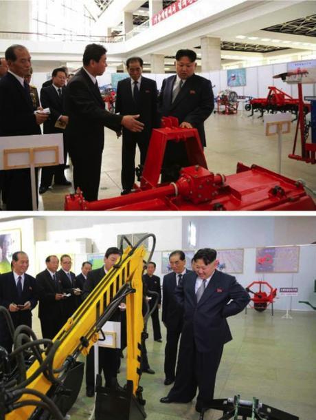 Kim Jong Un tours a specially organized exhibition on machines and equipment (Photos: Rodong Sinmun-KCNA).