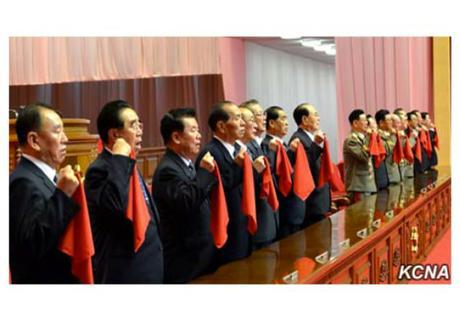 Members of the WPK Political Bureau pledge their loyalty during a meeting held at 7th Party congress venue the April 25 House of Culture on May 11, 2016 (Photo: KCNA).