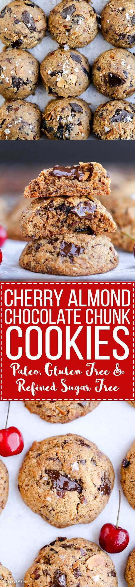 These Paleo Cherry Almond Chocolate Chunk Cookies are chewy, gooey, and absolutely delicious! These gluten-free and refined sugar-free cookies are loaded with toasted almonds, dried Bing cherries and dark chocolate chunks, sprinkled with flaky sea salt.