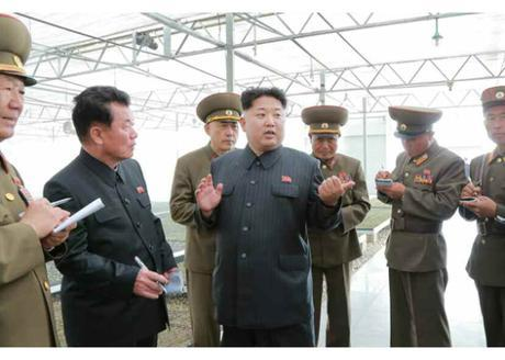 Kim Jong Un issues instructions during his visit to the KPA Tree Nursery #122. Also in attendance are KPA General Political Department Director VMAR Hwang Pyong So (left) and WPK Vice Chairman and Executive Policy Council Members O Su Yong (2nd left) (Photo: Rodong Sinmun).