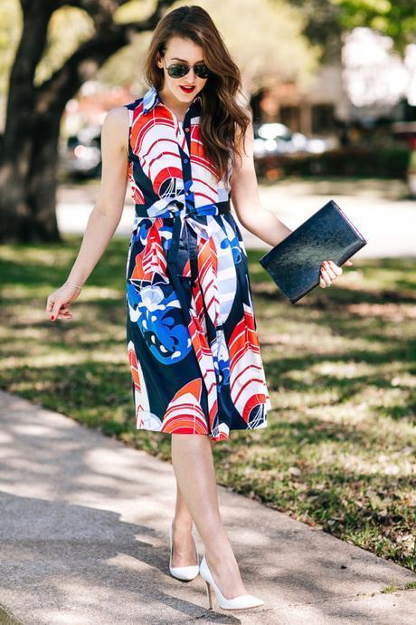 Amy Havins wears a sailboat-print shirtdress from Talbots.