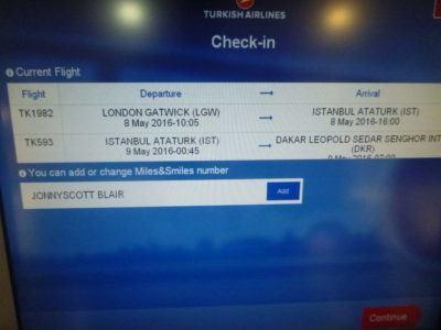 Check in at Gatwick