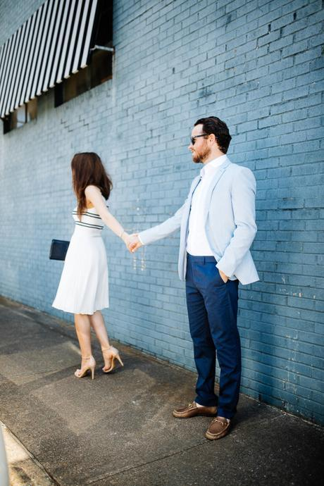 Amy and Wade Havins wear an outfit from Express for a night out.