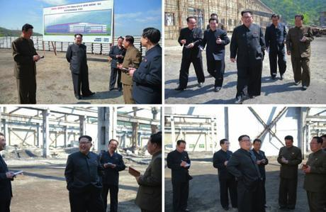 Kim Jong Un tours the machine plant managed by Ho Chol Yong (Photos: Rodong Sinmun).