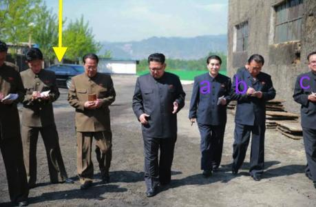 Kim Jong Un inspects the machine plant managed by Ho Chol Yong.  Also in attendance are: Kim Nung O [a]; Ri Man Gon [b]; and Jo Yong Won.  Noted in the background is Kim Jong Un's personal vehicle [c] (Photo: Rodong Sinmun)