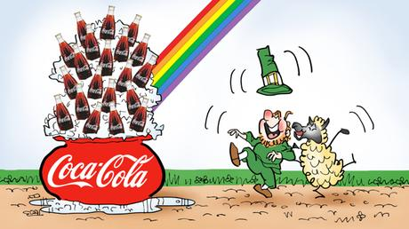 leprechaun and sheep dancing for joy next to big pot of Coca-Cola on ice at end of rainbow