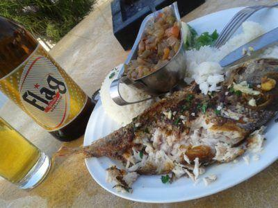 Friday's Featured Food: Barbecued Fish and Flag Beer on N'Gor Beach, Dakar, Senegal