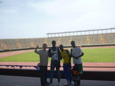 Touring Senegal's National Football Stadium. Yeah baby!